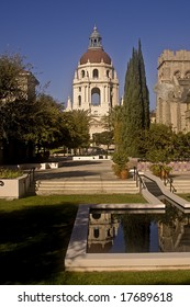 This is a picture of the Pasadena City Hall with its reflection in a reflecting pond.