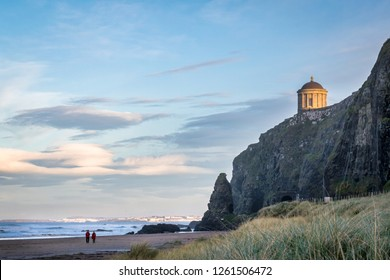 This is a picture of the railtracks that run along the Antrim Coast.  In the distance you can see Mussenden Temple on the edge of the cliff