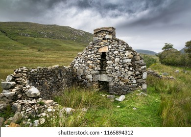 This a picture of the ruins of a Famine cottage in Donegal Ireland. this was one of many houses in an abondon village in an isolated part of the mountains.