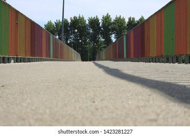 This picture shows a colorful footbridge from beton.