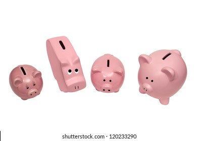 This picture shows different kinds of piggy banks.  Isolated on white.