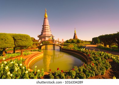This picture shows two temples located in Doi Inthanon, Chiang Mai (Thailand)