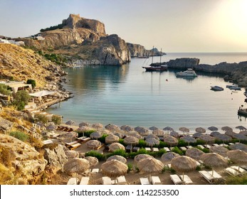 This is a picture of St Paul's bay in Lindos, Rhodes. One of the Greek islands