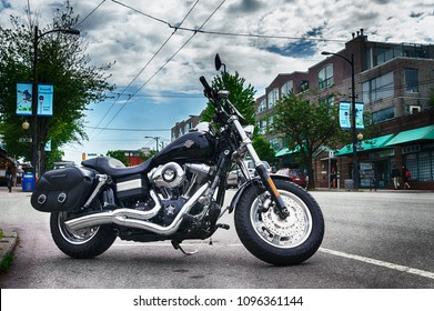 This picture was taken in Vancouver, BC, Canada on May 19, 2018, of a motorcycle on the street. Vancouver has become a popular tourist destination for motorcycle riders.