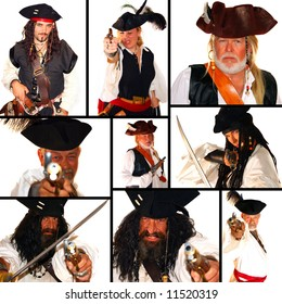 This is a pirate themed collage. All isolated on white and Model Release for everyone!