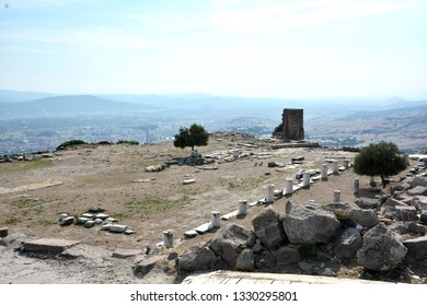At this place was the temple, the sanctuary of Athena and the library of Pergamum, the Acropolis of Pergamon, Bergam, Turkey