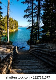 This is a portage area for canoes on Leigh Lake in Grand Teton National Park in Wyoming. There are certainly a lot of steps leading to the lake.