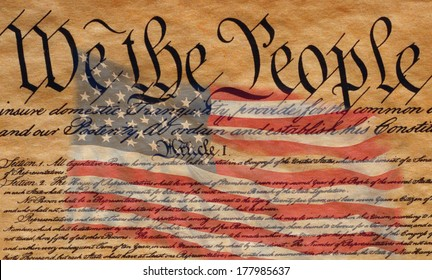 This is the preamble to the U.S. Constitution that starts with the words, we the people - and US Flag superimposed over it.