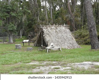 This primitive settler's shelter at Fort Frederica National Monument in Georgia was reconstructed from palm fronds based on historic documents and excavations.