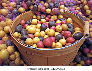 This produce stock image is a large basket of red, white and blue whole uncooked, raw potatoes.  Some have netted bags around the sides of the wooden basket.  Colorful harvest of bountiful vegetables.