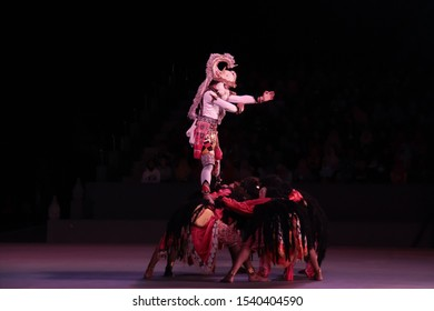 This is Ramayana Ballet Show that was held in Prambanan Temple, Indonesia. This is one of the most popular traditional dance in Yogyakarta.