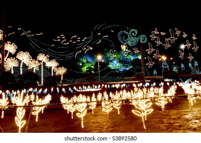 This is the river that runs through Medellin Colombia.  During Christmas they decorate the river with illuminated lights from clouds to flowers and are not Christmas themed.