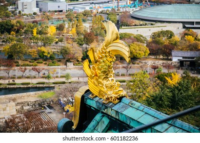 This roof ornament of golden fish sculptures is shachi.