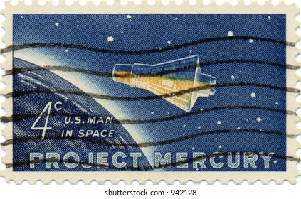This is a scan of a 1950's vintage Project Mercury US postage stamp