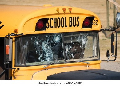 This school bus with shot-up windows is part of a training course for police dogs.