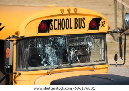 This School Bus Shotup Windows Part Stock Photo Edit Now 696176881