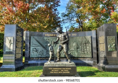 This is the Seabee Memorial in Arlington, Virginia near Washington, D.C. It is located near the entrance of Arlington Cemetery.