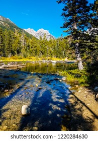 This is a secluded cove on Leigh Lake in Grand Teton NP in Wyoming. A Teton peak is peeking out in the background. The foreground of this image is filled with forest shadows from the shoreline.