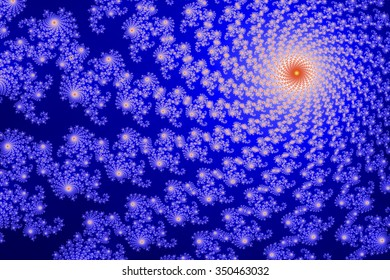 This section of the Mandelbrot set (fractal) is computer generated and shows a vortex like structure.in blue and red colors.