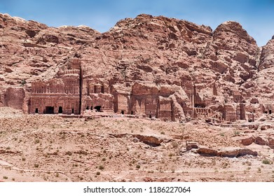 In this section of Petra, the Royal Tombs are a string of ornate burial chambers carved into the rocky cliffs.
