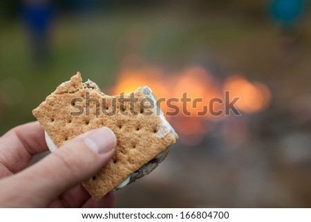 This a shallow depth of field image of a smore held in hand in front of a camp fire.