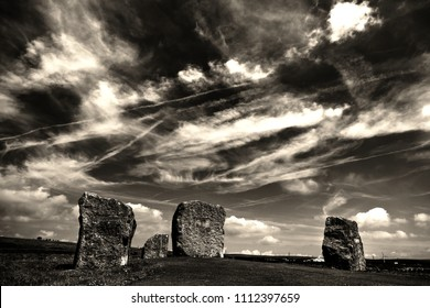This is a shot of the Aneurin Bevan Stones with a dramatic cloud formation overhead.