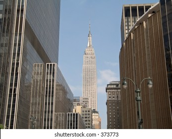 This is a shot of the Empire State Building along with Madison Square Garden.