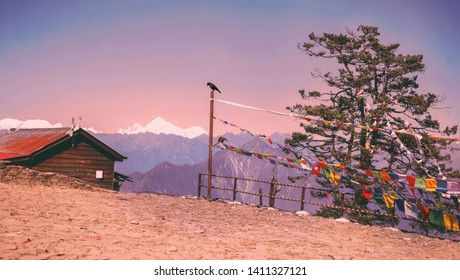 This is the side view from top of the hill in Pathivara Godesses temple,Taplejung located at the altitude of 3794m.