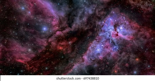 This spectacular panoramic view cof the Carina Nebula with an earlier picture of the region around the unique star Eta Carinae in the heart of the nebula. Elements of this image furnished by NASA.