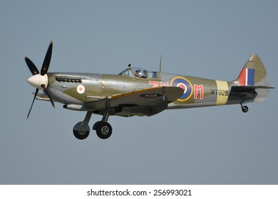 This is the spitfire Mark VIII, MT928 D-FEUR. D = Deutschland (Germany). FEUR = Feuer (fire). This special airplane performing at the air14 show on the 6th of September 2014 in Payerne, Switzerland.