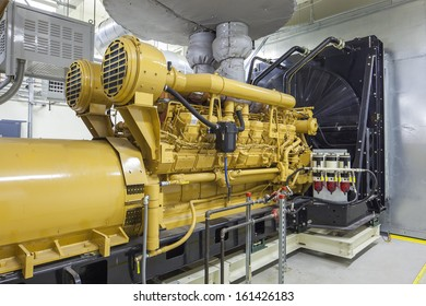 This standby diesel generator unit has a unit mounted radiator and fuel filter system.