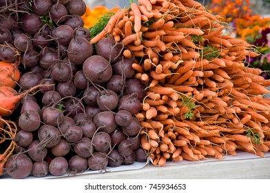 This is a stock image with stacks of beets and carrots root vegetables.