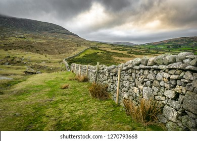 This is a stone wall running up the Mourne Mountains in Northern Ireland.  It is near Hares Gap.
