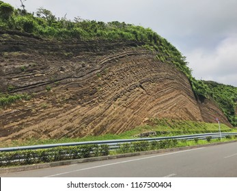 This stratum in Izu Oshima shows the course of nature. It might have taken thousands of years for this rock section to look like this.