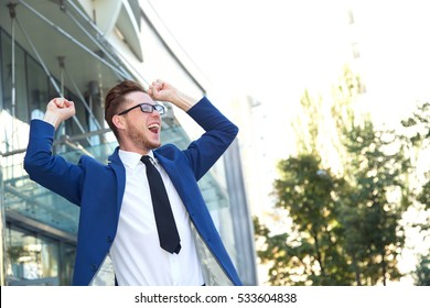 This success! Business man very happy. Celebration, because he got a new job.