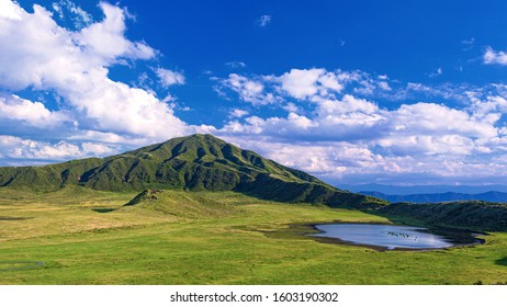 This is the Summer Landscape at Aso highland in Kumamoto Prefecture, Japan.