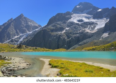 This is sunny landscape in Caucasus mountains in fall