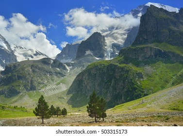 This is sunny view in Caucasus mountains in summer