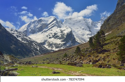 This is sunny view in Caucasus mountains insummer