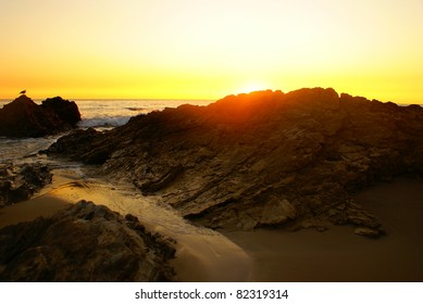 This is a sunset from Crystal Cove State Park in California.