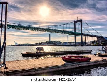 This is a suspension bridge in Gothenburg, Landmark of swedish architecture. Sweden