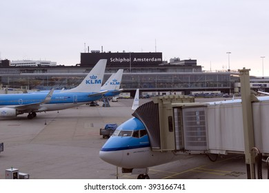 This is terminal Airport Schiphol Amsterdam in the evening May 21, 2013 in Amsterdam, Netherlands.