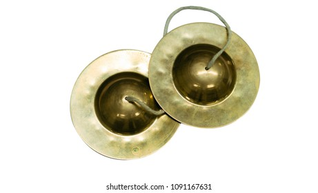 This is a Thai cymbals Musical instrument isolated on white.