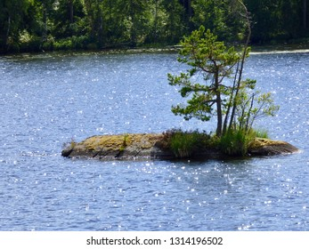 This is a tiny island with a small pine tree growing out of the rock. This island is in one of Sweden's largest lakes and is surrounded by sparkling blue water.