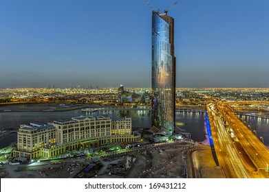 This tower is away from all the tower, sitting alone in this area, watch the city of sharjah in the horizon