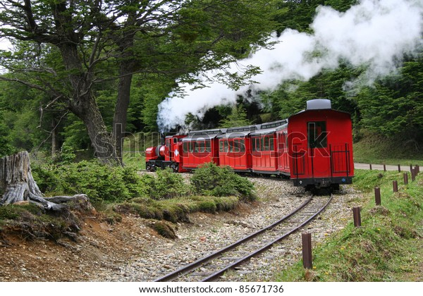 this train is known as the world's end train, and works in ushuaia, inside of the argentinian patagonia