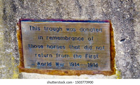 This trough was donated in remembrance of those horses that did not return from the first World War 1914-1918 Sign, Glenbrook, NSW, Australia on 14 September 2019