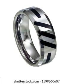 This tungsten carbide steel men's ring band with beveled edges features a flat polished top with black lacqure accent marks. Shown on at white background.