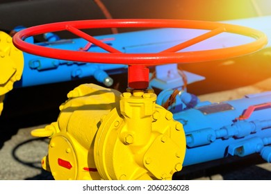 This is a valve for supplying natural gas through a gas pipeline for heating housing close-up. The concept of gasification of Europe. Background.