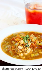 This is a vegetarian style soup or stew served with tamarind tea after the Ramadan fast